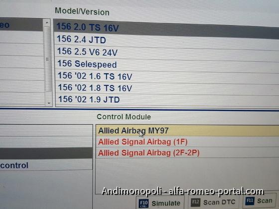 Fehler 01 internal Airbag Ecu 156 bj99